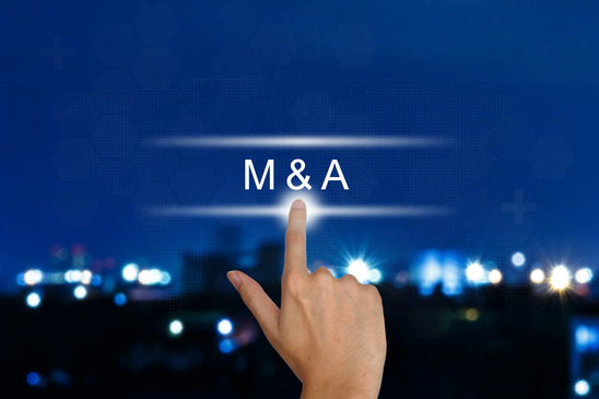 hand clicking M&A or Merger and Acquisition button on a touch screen interface